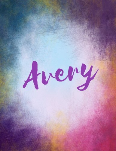 Avery: Avery personalized sketchbook/ journal/ blank book. Large 8.5 x 11 Attractive bright watercolor wash purple pink orange & blue tones. Cool elegant Lettering.