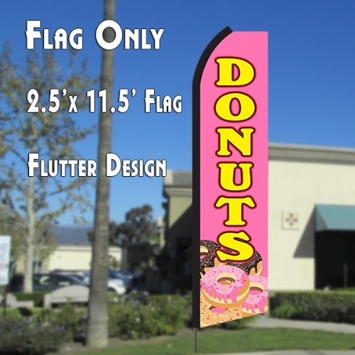 DONUTS (Pink/Yellow) Flutter Polyknit Feather Flag (11.5 x 2.5 feet)