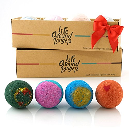 LifeAround2Angels Bath Bombs Gift Set 4 USA made Fizzies, Shea & Coco Butter Dry Skin Moisturize, Spa Kit add to Bubble Bath. Handmade Birthday Gift For Her, women gift sets, Fathers day gifts (Fathers Days Gift)