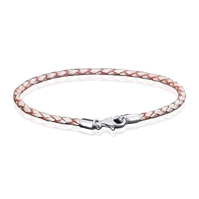 MATERIA 925 Silber Beads Armband Herren Damen - Leder Armband Karabiner  champagner 18-22cm   2230caaba5
