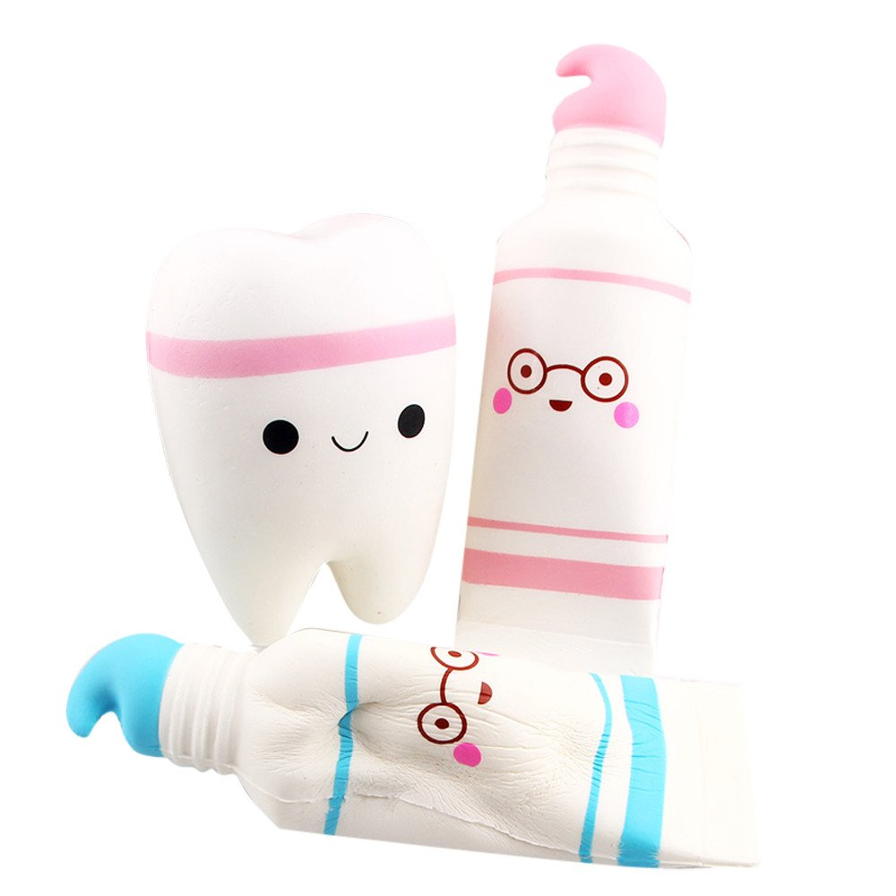 Slow Rising Stress Reliever Toy Cartoon Toothpaste Scented Squeeze Toys (Plue Pink)