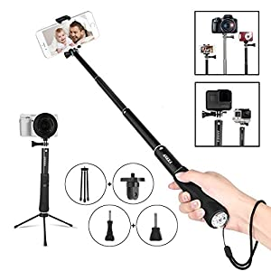 Bluetooth Selfie Stick Monopod Remote Control Wireless Shutter Gopro Hero Camera iPhone Samsung Galaxy LG HTC Sony Moto and 3.5-6 inch Smartphone all Size all Brands Android 2.3 and ios 4 above BLACK