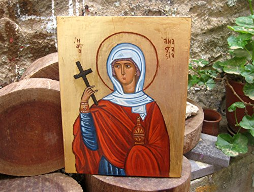 Byzantine icon of Saint Anastasia hand-painted Greek orthodox icons and Holy iconography of Greece