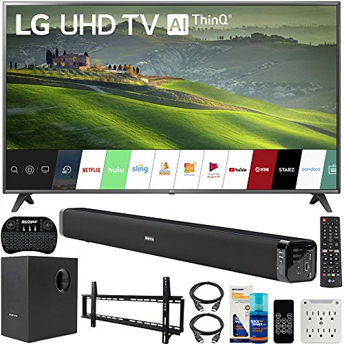 LG 75UM6970 75 inch HDR 4K UHD Smart IPS LED TV 2019 Model Bundle with Soundbar with Subwoofer, Wall Mount Kit Wireless Backlit Keyboard and 6-Outlet Surge Adapter