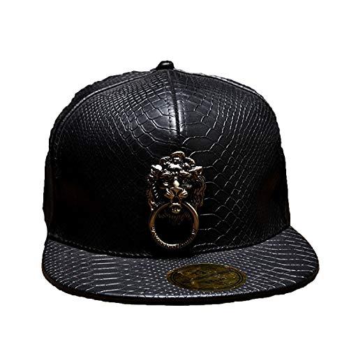 (New Metal Sculpture Lion Head Snapback Hats Snakeskin Leather Hip Hop Cap Men Punk Style Baseball Caps Black)