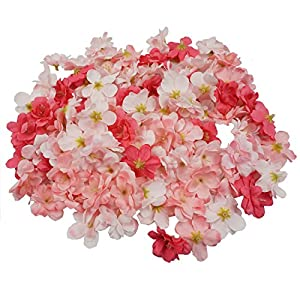 Colorfulife Cherry Blossom Flower Heads, 100pcs Artificial Silk Sakura Flower Head Petals Bridal Wedding Party Supply Table Floor DIY Decoration Centerpieces Home Decorative (Peach Pink) 52