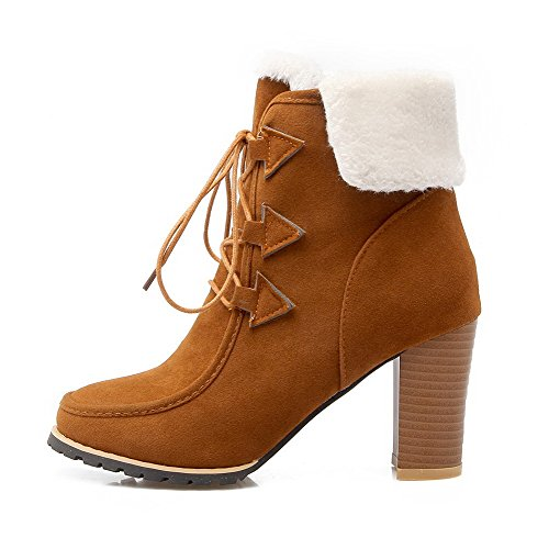 Allhqfashion Dames Hoge Hakken Frosted Low-top Stevige Veterschoenen Bruin
