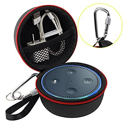 Echo Dot Case, Portable Carrying Travel Bag Protective Hard Case Cover for Amazon Echo Dot (2nd Generation) with Carabiner (Fits USB Cable and Wall Charger) from Airsoft Peak