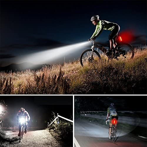 LXF 充電、ズーム、強力なライディング懐中電灯セット - LED自転車ライト1ヘッドライトと1テールライト。