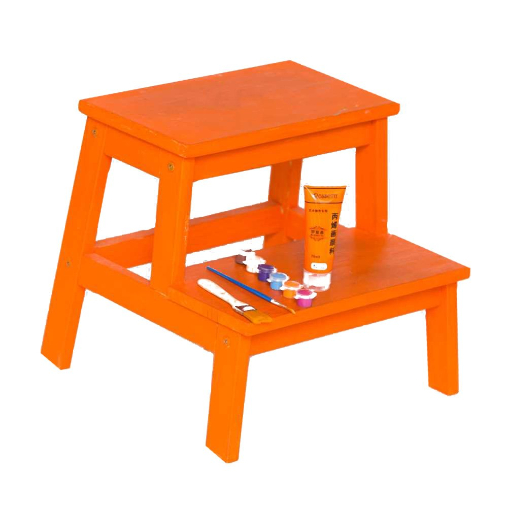 PENGFEI ステップチェア 無垢材 ラダー スツール 多機能 色 DIY 昇順 フットスツール シューズの交換 2ステップ、 5色 脚立 踏み台ステップ チェア (色 : オレンジ) B07DL4VH2D オレンジ オレンジ