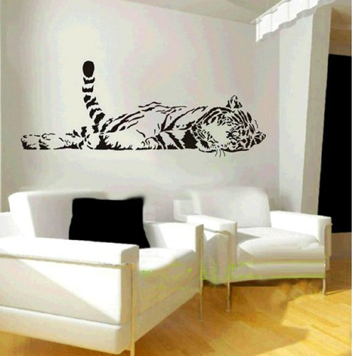 1 X Animal Wild Zoo Lying Tail up Tiger Wall Decal Sticker Living Room Stickers Black Color Vinyl Removable ()