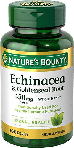 Nature's Bounty Echinacea Pills and Goldenseal Root Herbal Health Supplement, Supports immune Function, 450mg, 100 Capsules