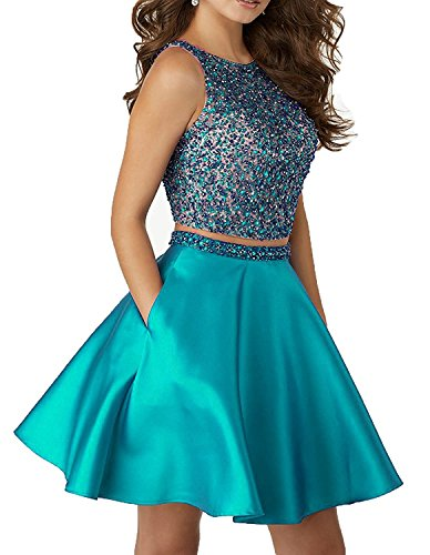 2 Piece Satin Dress (Little Star Turquoise Satin 2 piece Homecoming Dresses Short 2017 For Juniors Prom Dresses With Pocket A Line Cocktail Party Ball Gown)