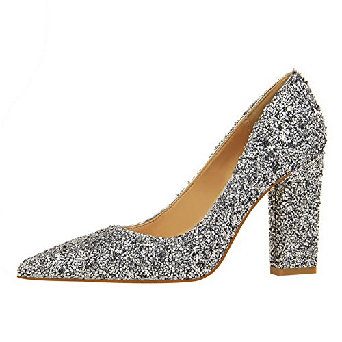Sequins Silver Shoes Pointed High On WeenFashion Pumps Pull Women's Toe Solid Heels OqSnP0xw