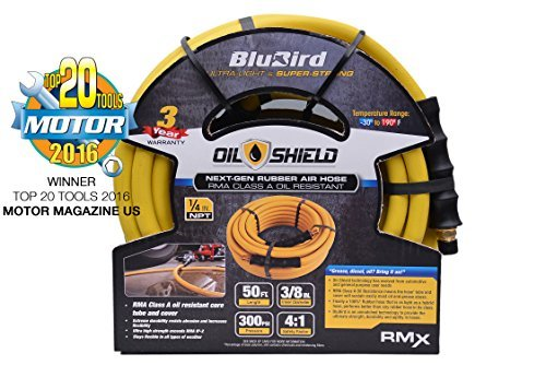 BluBird Oil-Shield: 3/8 x 50' RMA Class A Professional Rubber Air Hose: The Lightest & Strongest Oil Resistent Hose w/ 3 Year Warranty by BluBird Oil-Shield