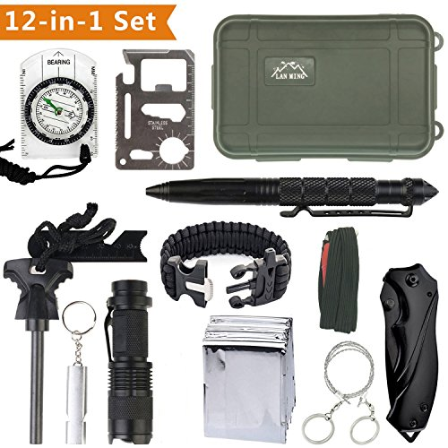 KaiLan Emergency Survival Gear Kit 12 in 1 ,Outdoor Survival Tool with Fire Starter Paracord Bracelet Whistle Survival Blanket Wire saw Compass Survival Knife Flashlight Tactical Pen etc (12 Inch Compass Saw)
