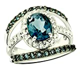 Sterling Silver 925 Ring LONDON BLUE TOPAZ and WHITE TOPAZ 4.89 Carats with RHODIUM-PLATED Finish (7)