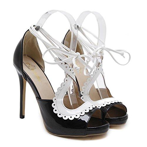 ZPL Women Ladies Sexy Sandals Stiletto High Heel Shoes Peep Toe Ankle Strap Rome Openwork Black Party Dress Nightclub Black hYjdHz