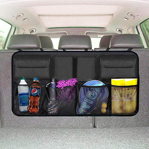 EldHus Trunk Organizer Car Storage - Auto Organizer for SUV Van Container Car Organization Collapsible Compartment Pocket Mesh