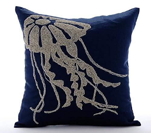 Floral Pillows Throw Designer - Navy Blue Throw Pillows Cover, Beaded Jelly Fish Sea Creatures Ocean and Beach Theme Pillows Cover, 20