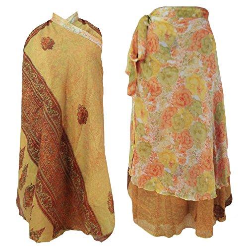 Brown Wrap Long Skirt Around Polyester Dress India Free Size Women Clothing