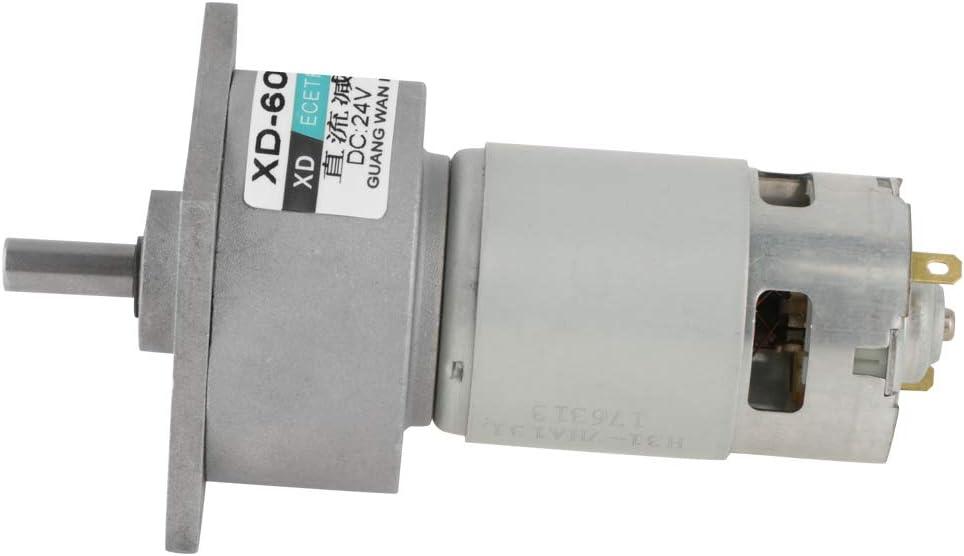 DC 12/24V 35W Motor de Engranaje Reductor de Velocidad Micro Ajustable CW/CCW Mini Caja de Engranajes de Reducción de Velocidad de Alto Torque(24V 50RPM)