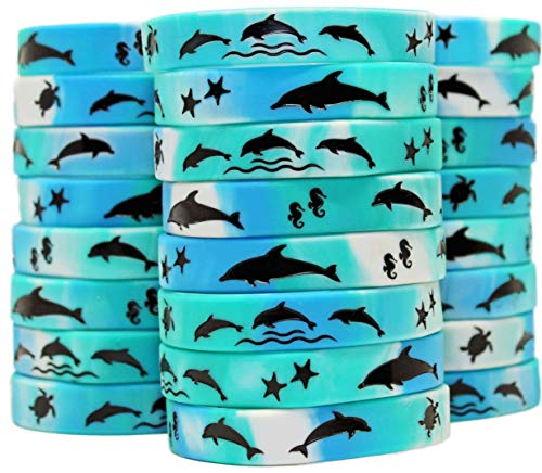 Gypsy Jade's Dolphin Party Favors - Wristbands for Awesome Dolphin Themed Parties - Pack of 24!]()