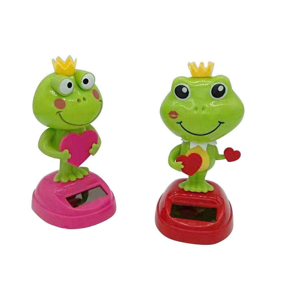 qwrew Car Decoration Lovely Solar Shaking Head Doll Swinging Frog Car Decoration Cartoon Car Doll Car Interior Kids Toys Gift