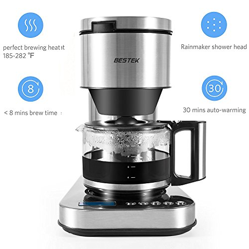 BESTEK 10 Cup Drip Coffee Maker in Stainless Steel, Programmable and Aroma Control, with Permanent Filter by BESTEK (Image #1)