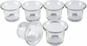 Shxstore Clear Chunky Glass Lip Votive Candle Holders Tealight Votive Cups for Wedding Proposal, Spa, Aromatherapy, Meditation, 6 Counts