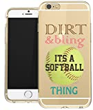 iphone 6 protective case softball - IPhone 6 PLUS Clear Case Softball Dirt Bling Inspirational Life Quote Teen Girls Teen Girls UNIQUE Designer CLEAR Transparent Gloss Candy TPU Flexible Slim Case Cover Skin for Apple iPhone 6 Plus 5.5