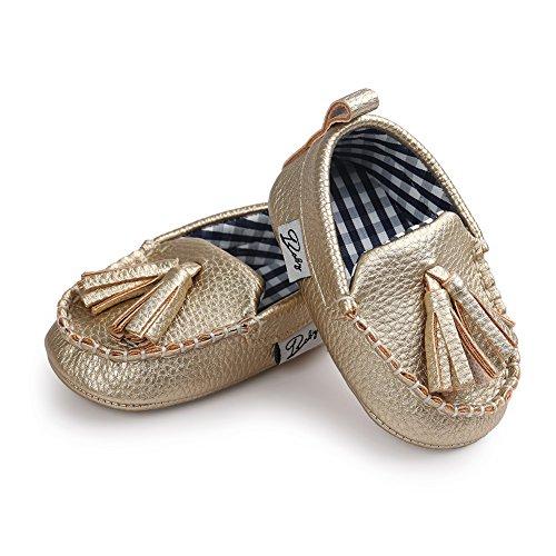 Zapatos para niños y niñas tipo mocasín Itaar - Suela suave piel sintética marrón marrón Talla:6-12 meses dorado