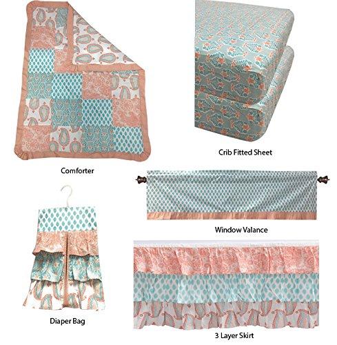 Bacati Sophia Paisley Girls 6 Piece Crib Set with Diaper Stacker, Coral/Aqua