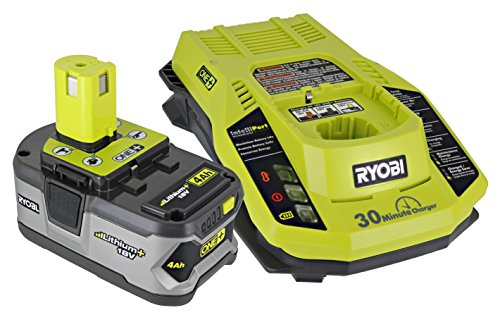 (Ryobi P108 One+ 18V 4.0AH Lithium Ion Battery and P117 One+ Dual Chemistry Lithium Ion and NiCad Battery Charger (2 Piece Combo)