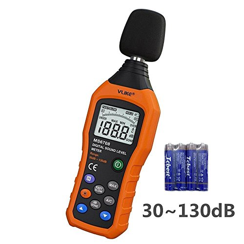 Db Level Meter (VLIKE LCD Digital Audio Decibel Meter Sound Level Meter Noise Level Meter Sound Monitor dB Meter Noise Measurement Measuring 30 dB to 130 dB MAX Data Hold Function A/C Mode)