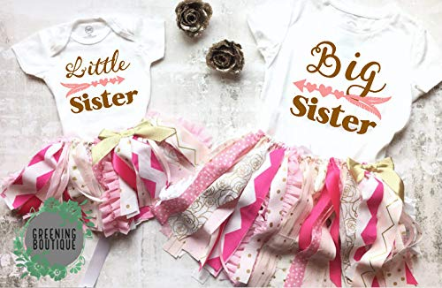 Big Sister Little Sister Matching Outfits, Pink and Gold, Tutu Outfits