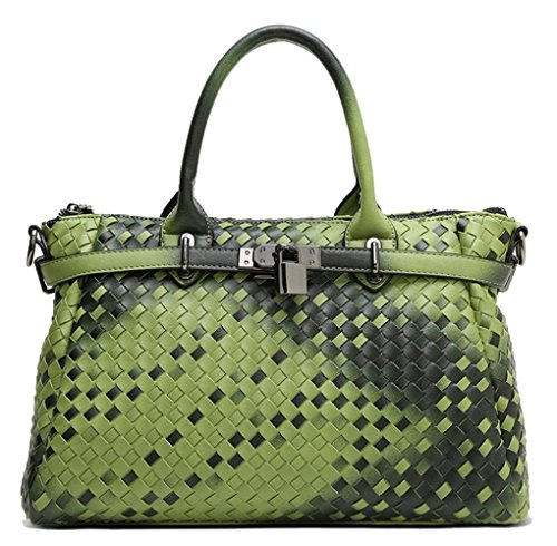PU Bag Yan Bag Green Show Weave Gradient Women's Tote Gradient Handbag Color Shoulder Woven rwqwvEX