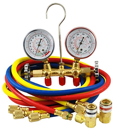 Mountain 8205 R-134a Brass Manifold Gauge Set with Couplers