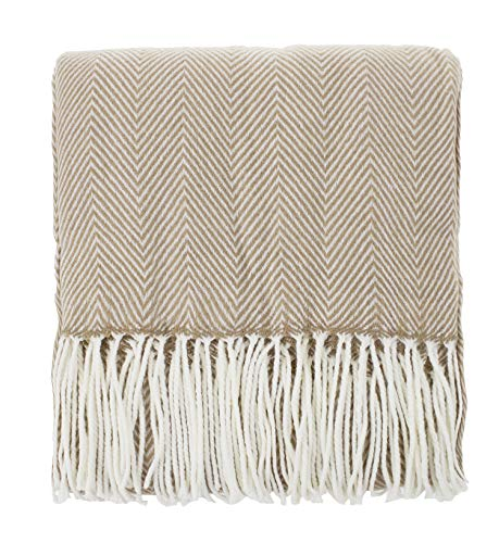 Fennco Styles Herringbone Collection Contemporary Fringed 50 x 60 Inch Throw - Camel Throw Blanket for Couch, Bedroom and Living Room Décor
