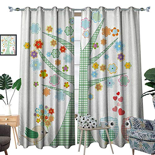Nursery Room Darkening Wide Curtains Romantic Owls in Love and Big Tree with Colorful Blossoms Bird Bouquet Customized Curtains Mint Green Multicolor