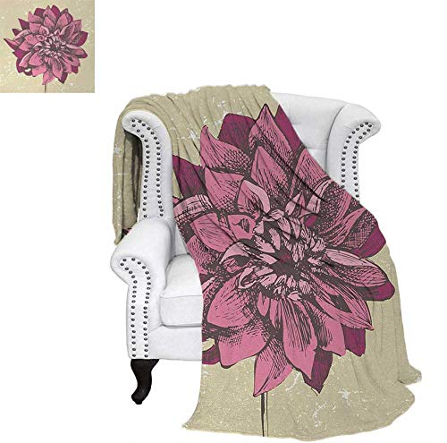 - Oversized Travel Throw Cover Blanket Vintage Dahlia Flower with Murky Grunge Featured Background Growth Bohemian Pattern Super Soft Lightweight Blanket 62