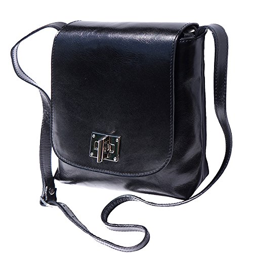 BORSA PIATTA MEDIA IN PELLE(6546) Nero