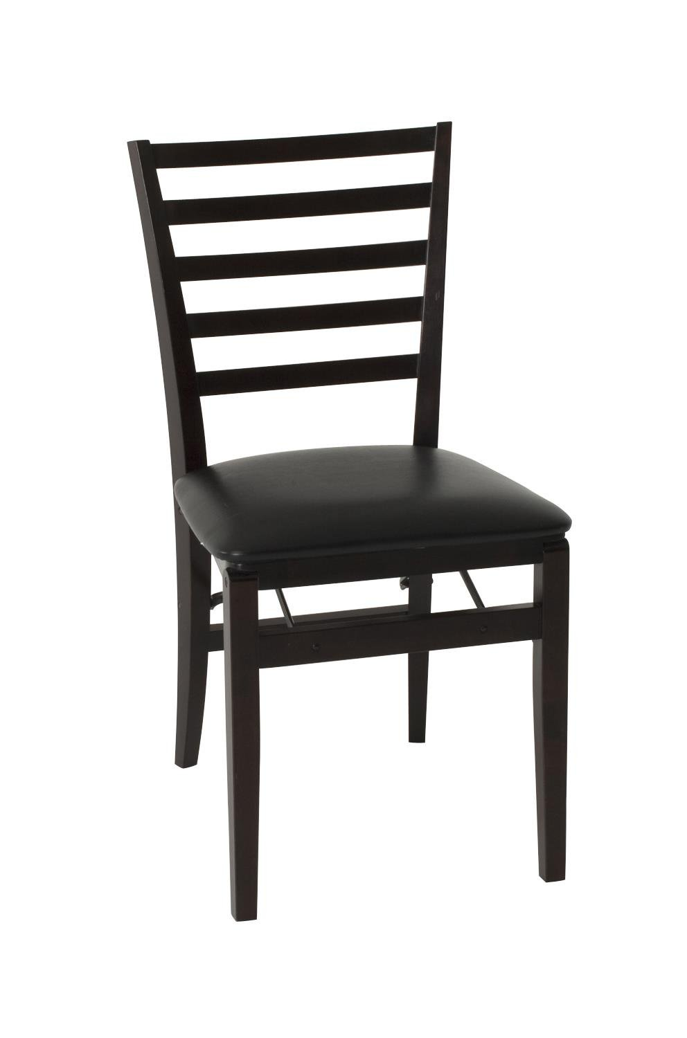 COSCO Contoured Back Wood Folding Chair with Vinyl Seat, Espresso, 2-Pack 37292ESP2X