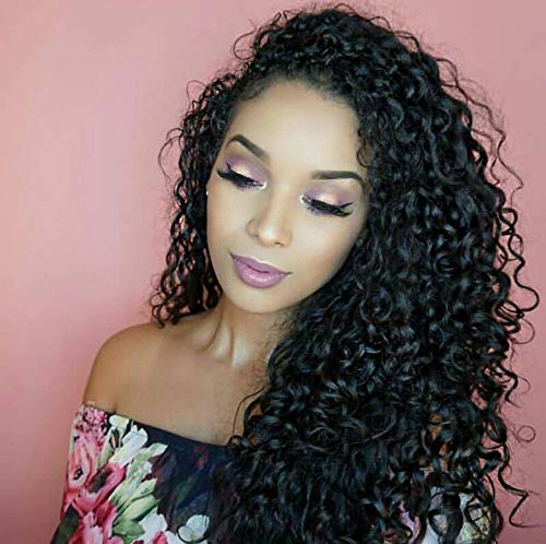 360 Lace Frontal Wigs Deep Curly Human Hair Wigs for Black Women with Baby Hair 150% Density Natural Color 20 inch ()