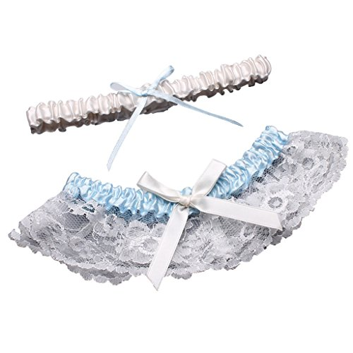 2 Piece Satin Garter (CLOCOLOR Women's Satin Lace 2 Piece Set Bridal Wedding Garters with Bow Ivory&Sky Blue)