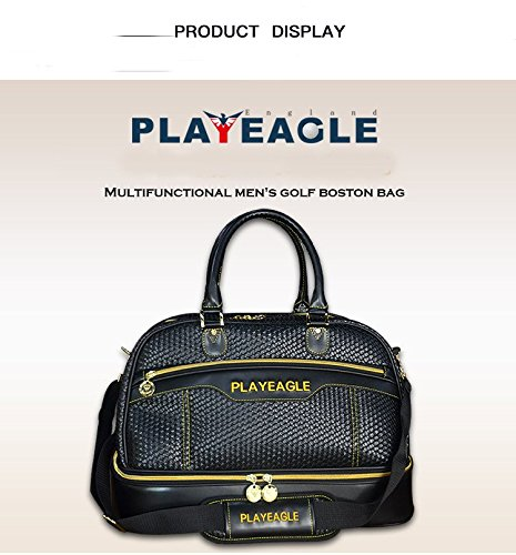 PLAYEAGLE Weave Waterproof Large Capacity Golf Boston Bag PU Leather Travel Duffel Bag with Shoe Layer by PLAYEAGLE (Image #2)