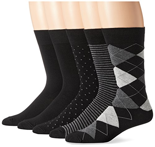 Amazon Essentials Men's 5-Pack Patterned Dress Socks, Assorted Black, Shoe Size: 8-12