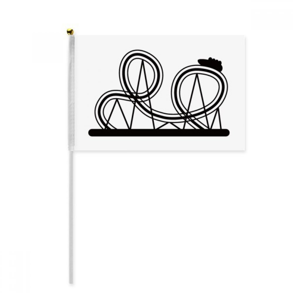 Black Roller Coaster Amusement Park Silhouette Hand Waving Flag 8x5 inch Polyester Sport Event Procession Parade 4pcs
