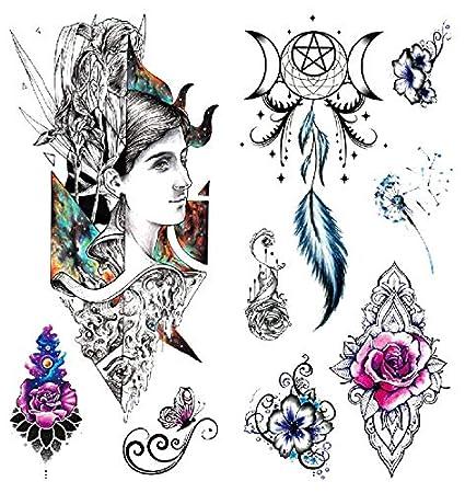 Oottati 2 Hojas 3D Tatuaje Temporal Tattoo Queen Flower Dream ...