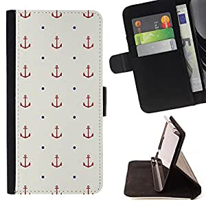 Super Marley Shop - Leather Foilo Wallet Cover Case with Magnetic Closure FOR HTC Desire 820 D820 d820t- Anchor Boat Pattern